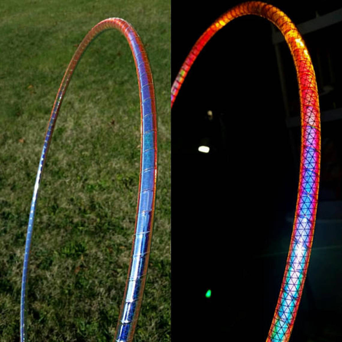 """Spectrum"" reflective hoop without flash and with flash"